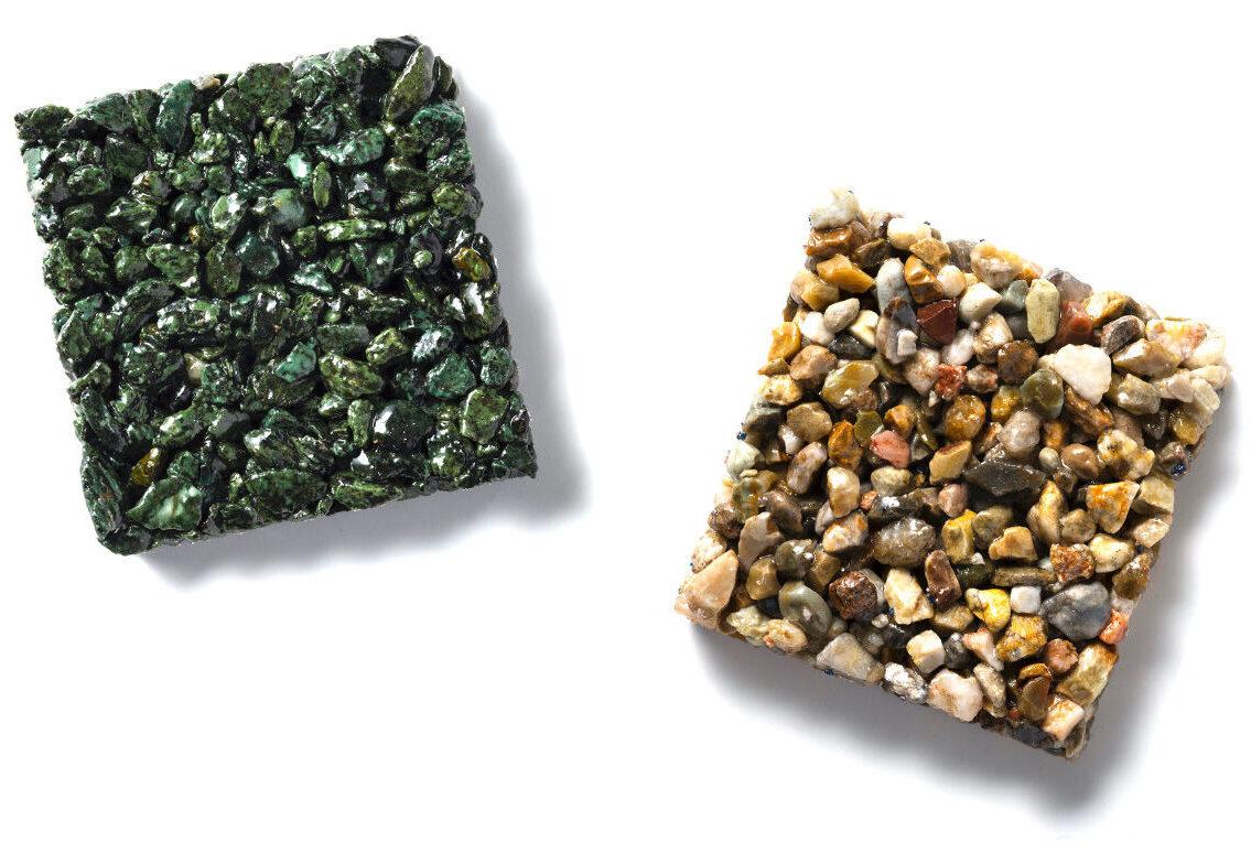 庭先や建物外構、ガーデニングのアクセントに美しい天然石を樹脂で固める透水性舗装材